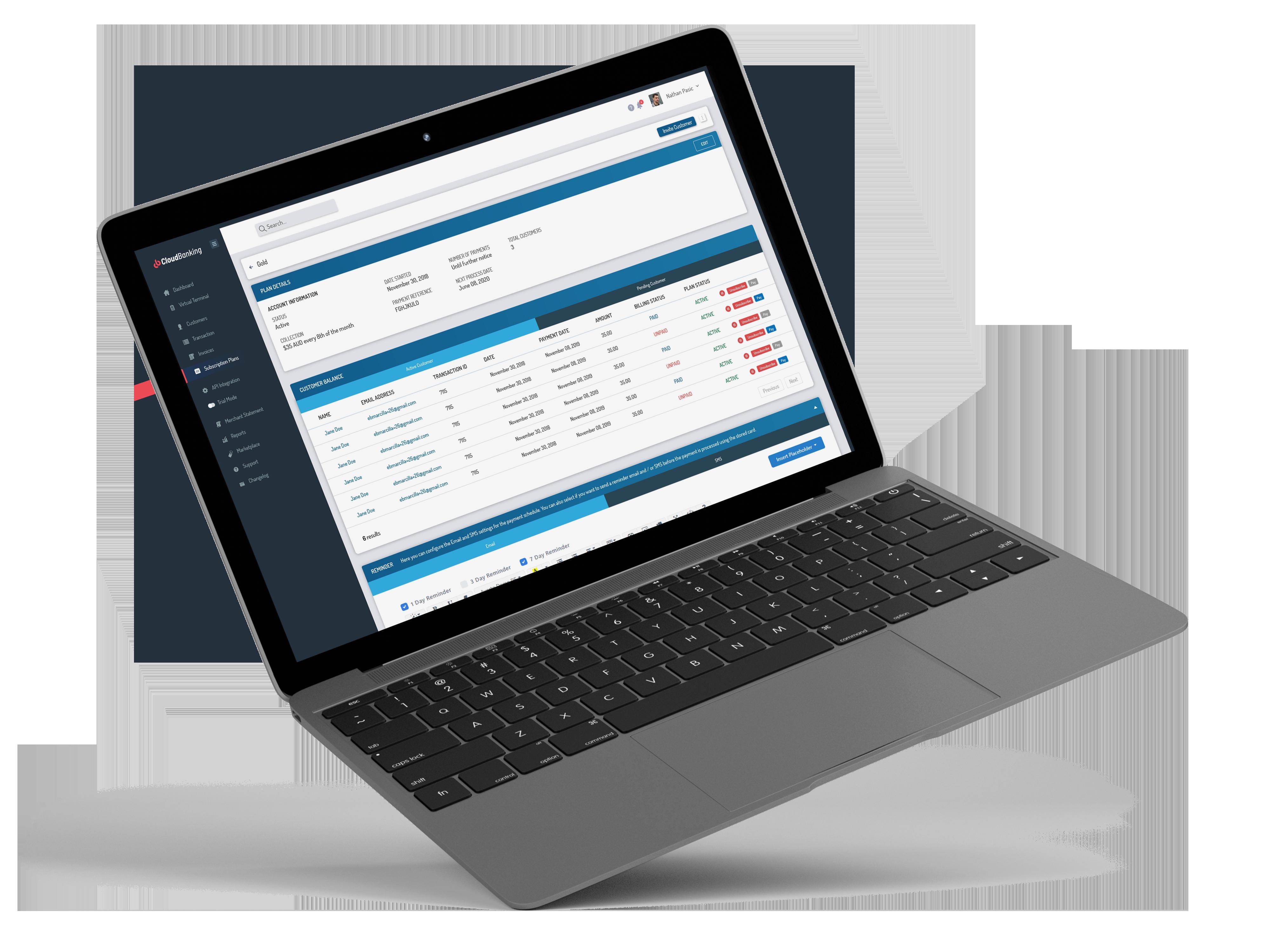 laptop showing cloudbanking report